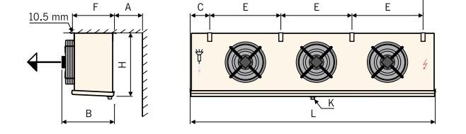 Чертеж воздухоохладителей Guentner GACC 3 вентилятора