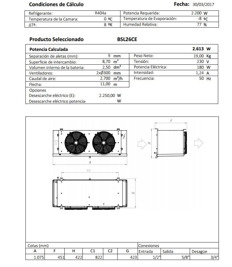 Характеристики и габаритные размеры воздухоохладителя Garcia Camara BSL26СE