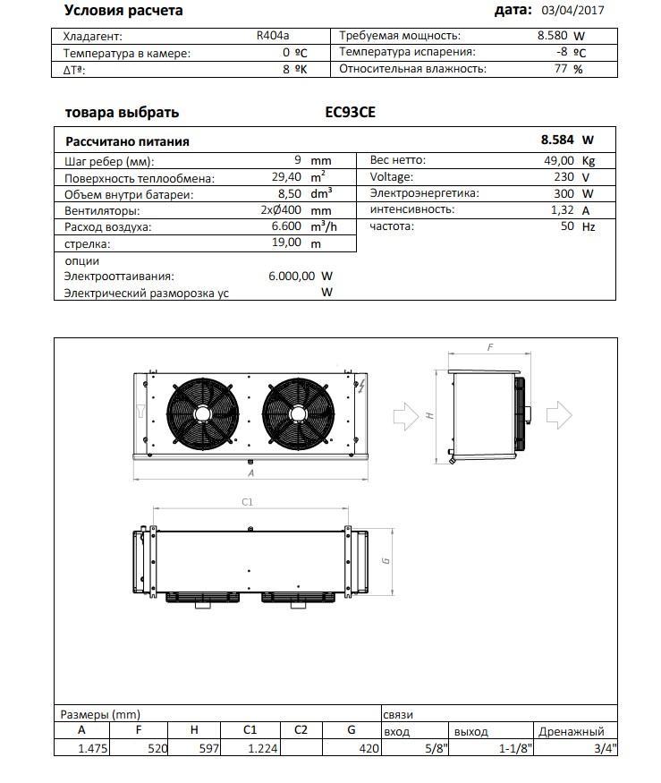 Характеристики и габаритные размеры воздухоохладителя Garcia Camara EC93СE