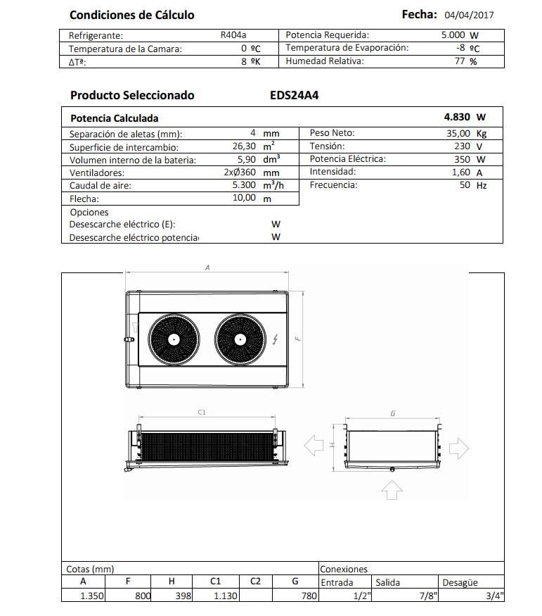 Характеристики и габаритные размеры воздухоохладителя Garcia Camara EDS24A
