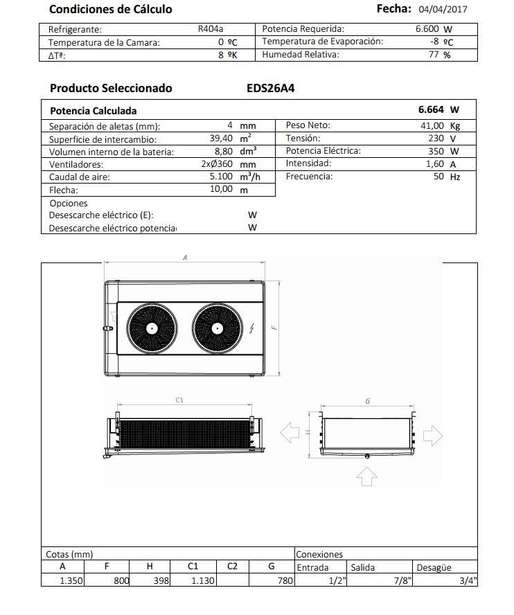 Характеристики и габаритные размеры воздухоохладителя Garcia Camara EDS26A4