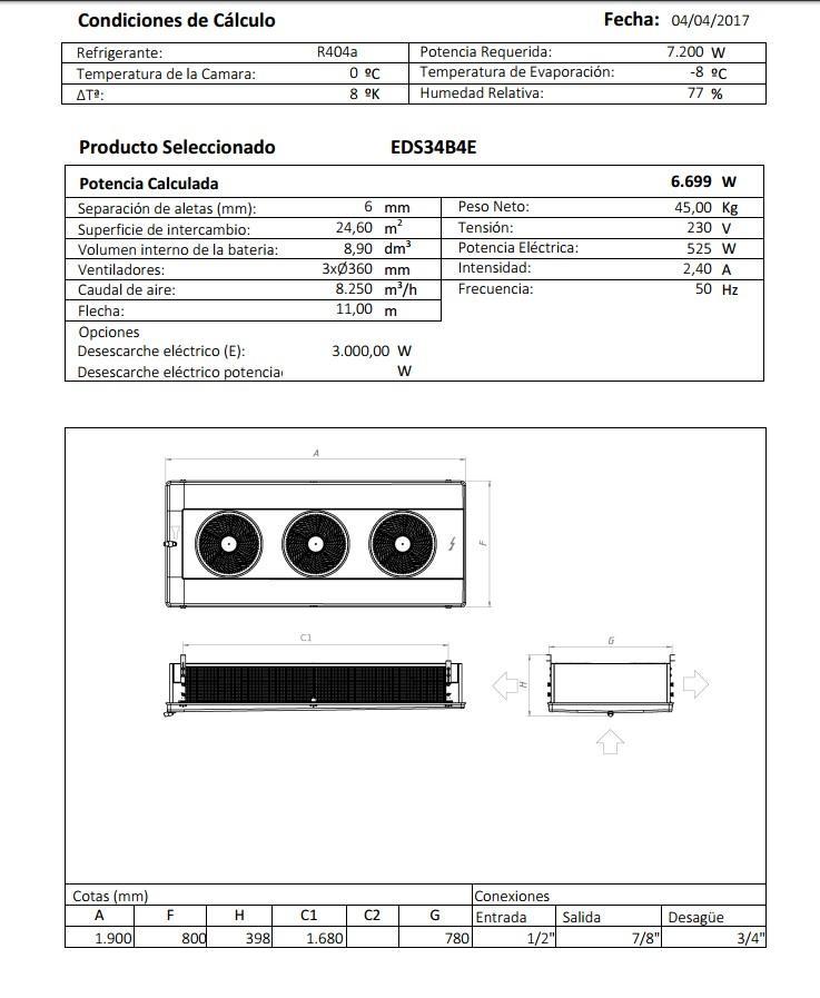Характеристики и габаритные размеры воздухоохладителя Garcia Camara EDS34B4