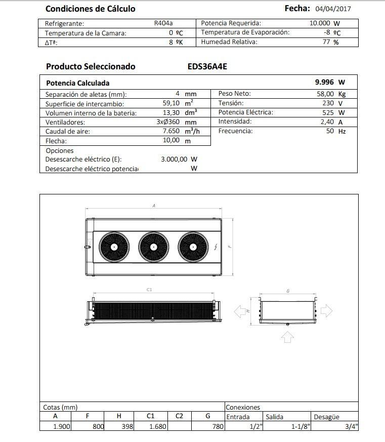 Характеристики и габаритные размеры воздухоохладителя Garcia Camara EDS36A4