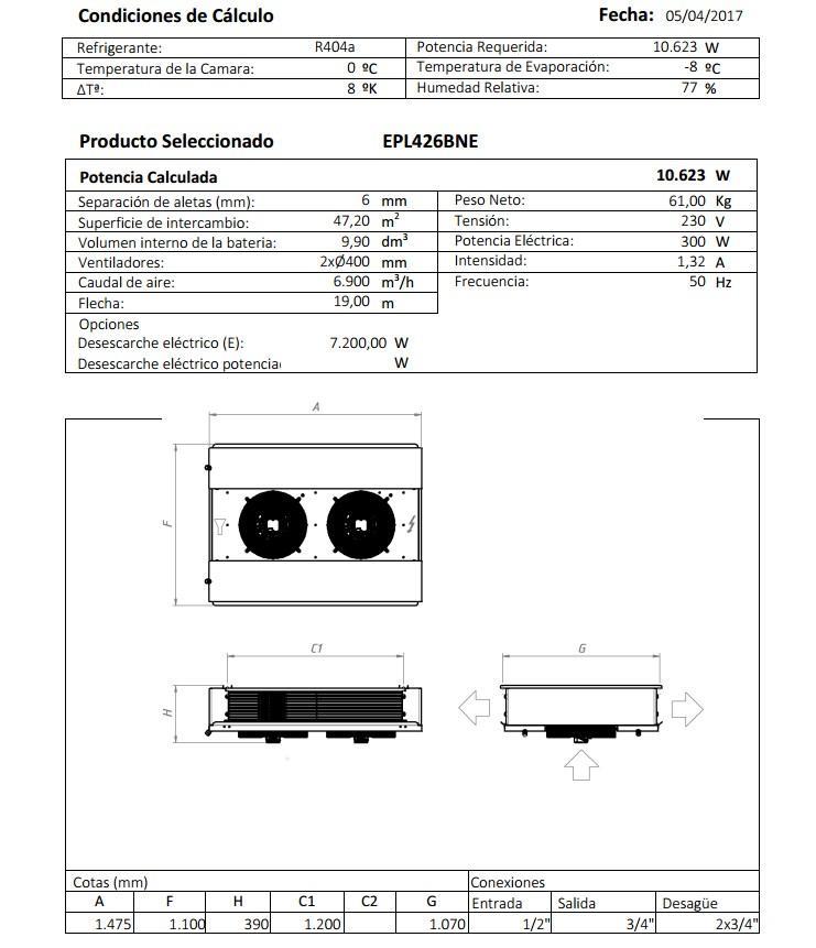 Характеристики и габаритные размеры воздухоохладителя Garcia Camara EPL426BNE