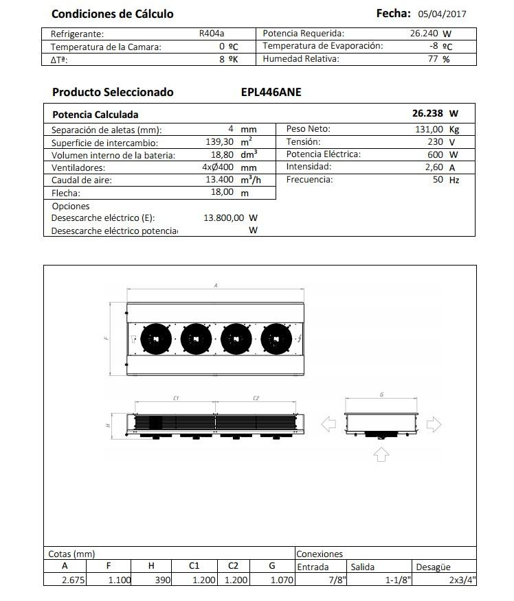 Характеристики и габаритные размеры воздухоохладителя Garcia Camara EPL446ANE