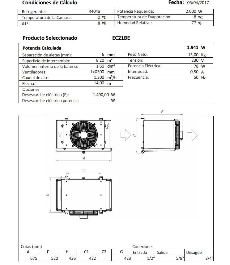 Характеристики и габаритные размеры воздухоохладителя Garcia Camara EC21BE