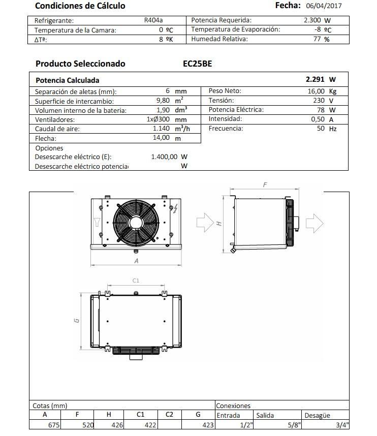 Характеристики и габаритные размеры воздухоохладителя Garcia Camara EC25BE