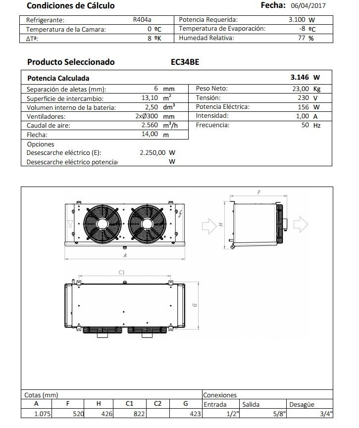 Характеристики и габаритные размеры воздухоохладителя Garcia Camara EC34BE