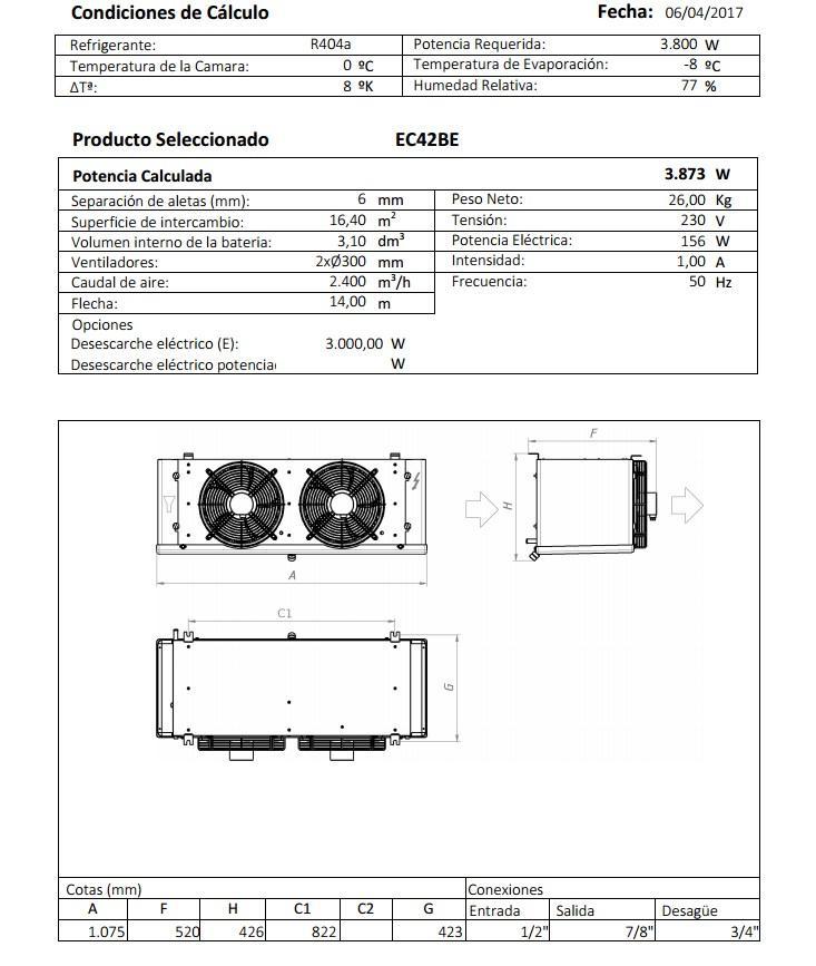 Характеристики и габаритные размеры воздухоохладителя Garcia Camara EC42BE