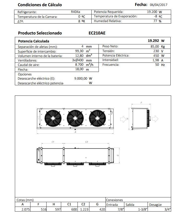 Характеристики и габаритные размеры воздухоохладителя Garcia Camara EC210AE