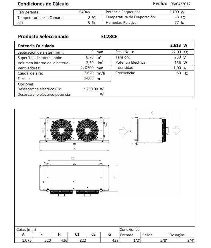 Характеристики и габаритные размеры воздухоохладителя Garcia Camara EC28СE