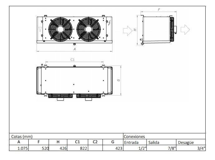 Характеристики и габаритные размеры воздухоохладителя Garcia Camara EC41СE