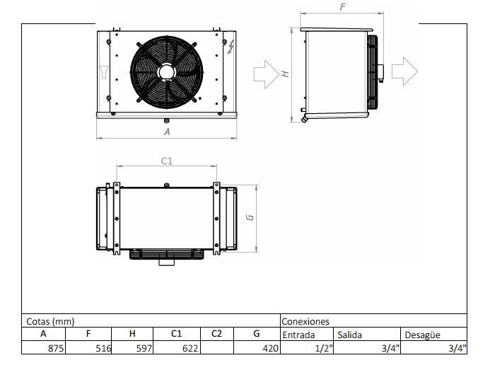 Характеристики и габаритные размеры воздухоохладителя Garcia Camara EC57BE (
