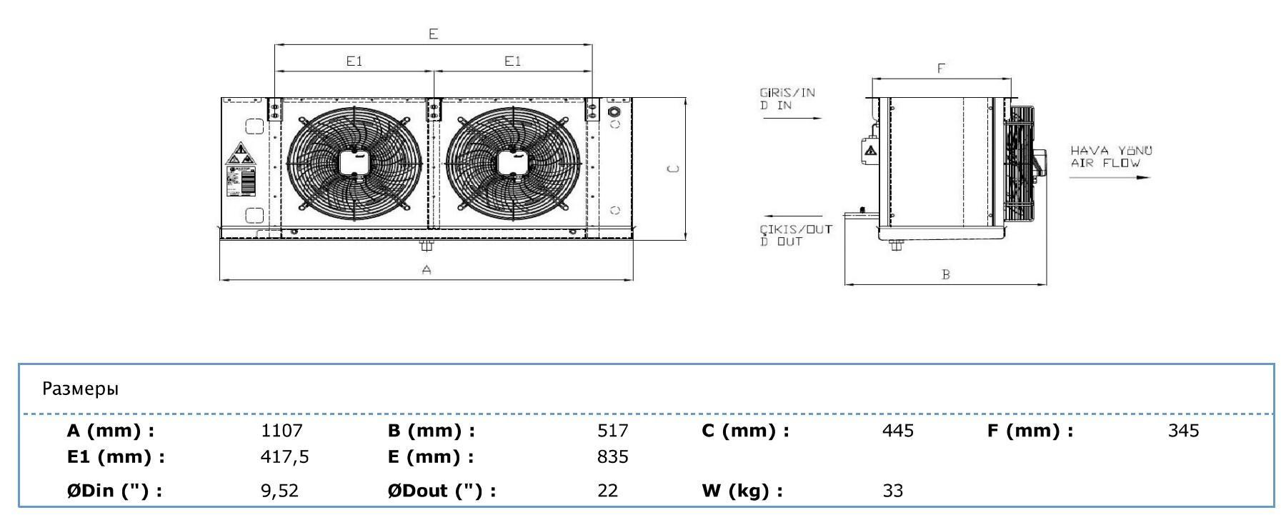 Габаритные и присоединительные размеры Karyer EA-230AС6-C01