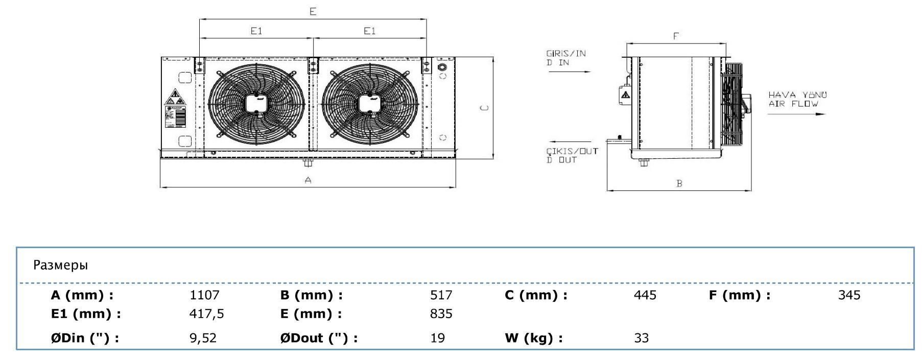 Габаритные и присоединительные размеры Karyer EA-230AС8-C01