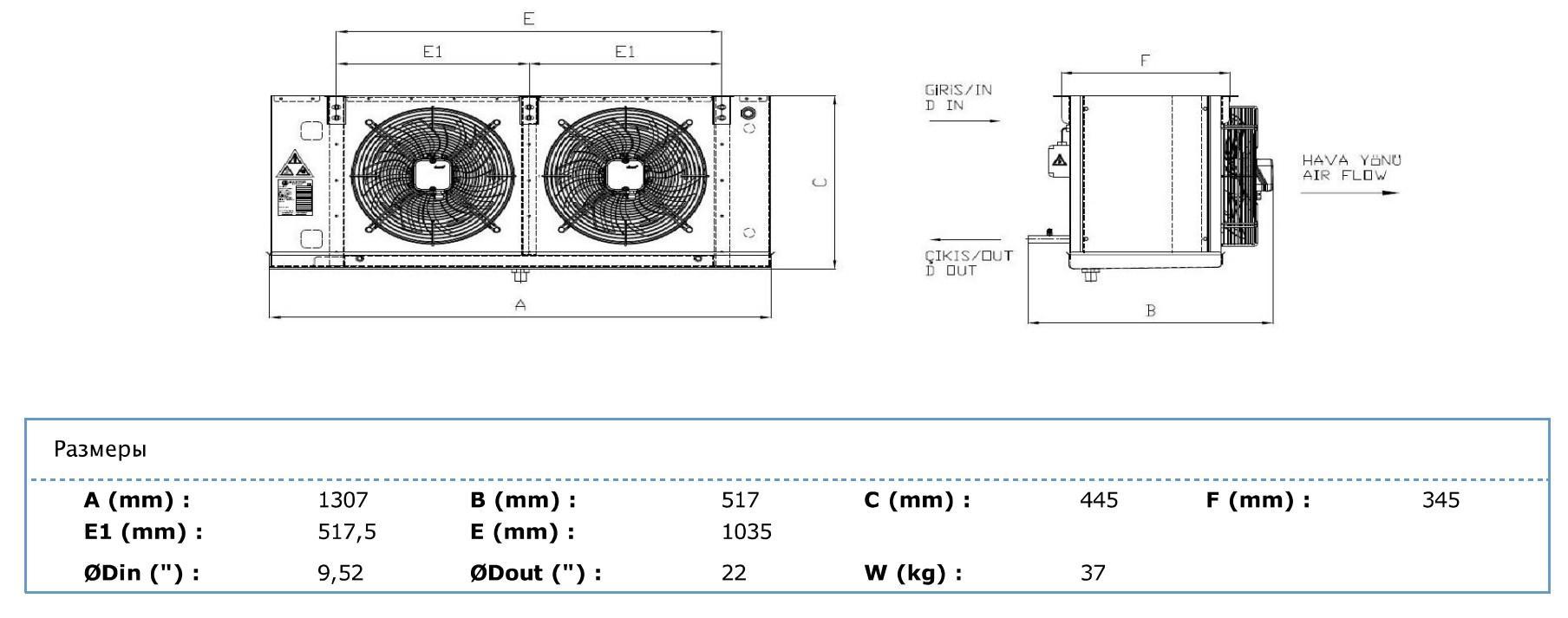 Габаритные и присоединительные размеры Karyer EA-230BС6-C01