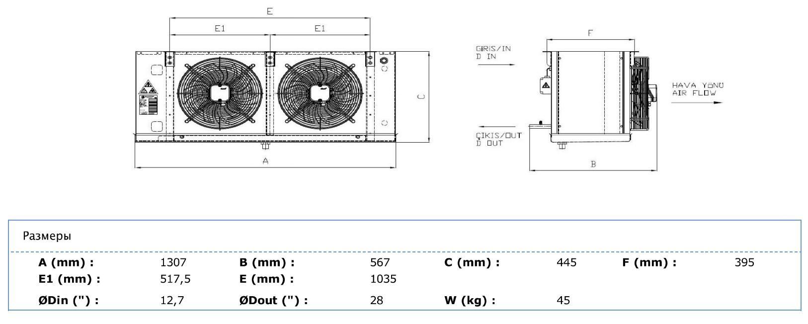Габаритные и присоединительные размеры Karyer EA-230BE8-C01