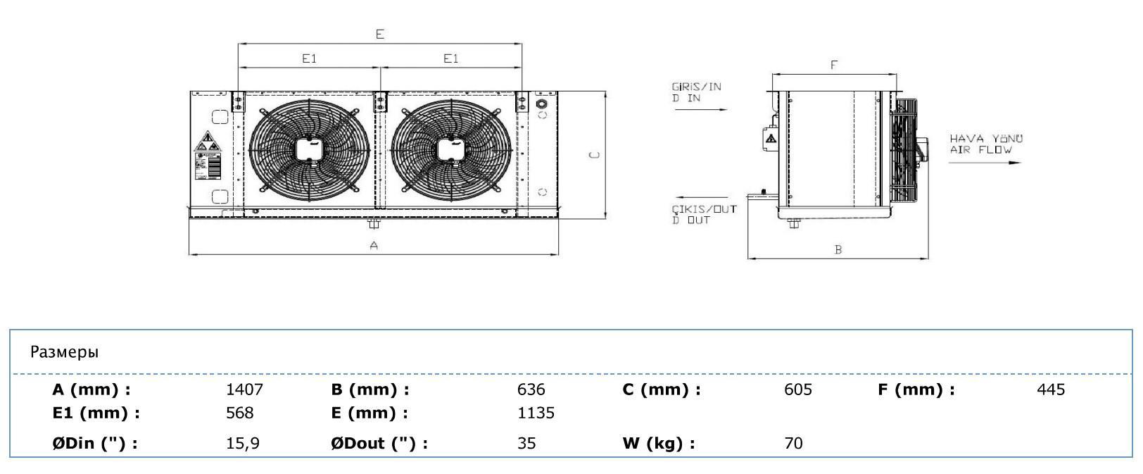 Габаритные и присоединительные размеры Karyer EA-240AE6-C01