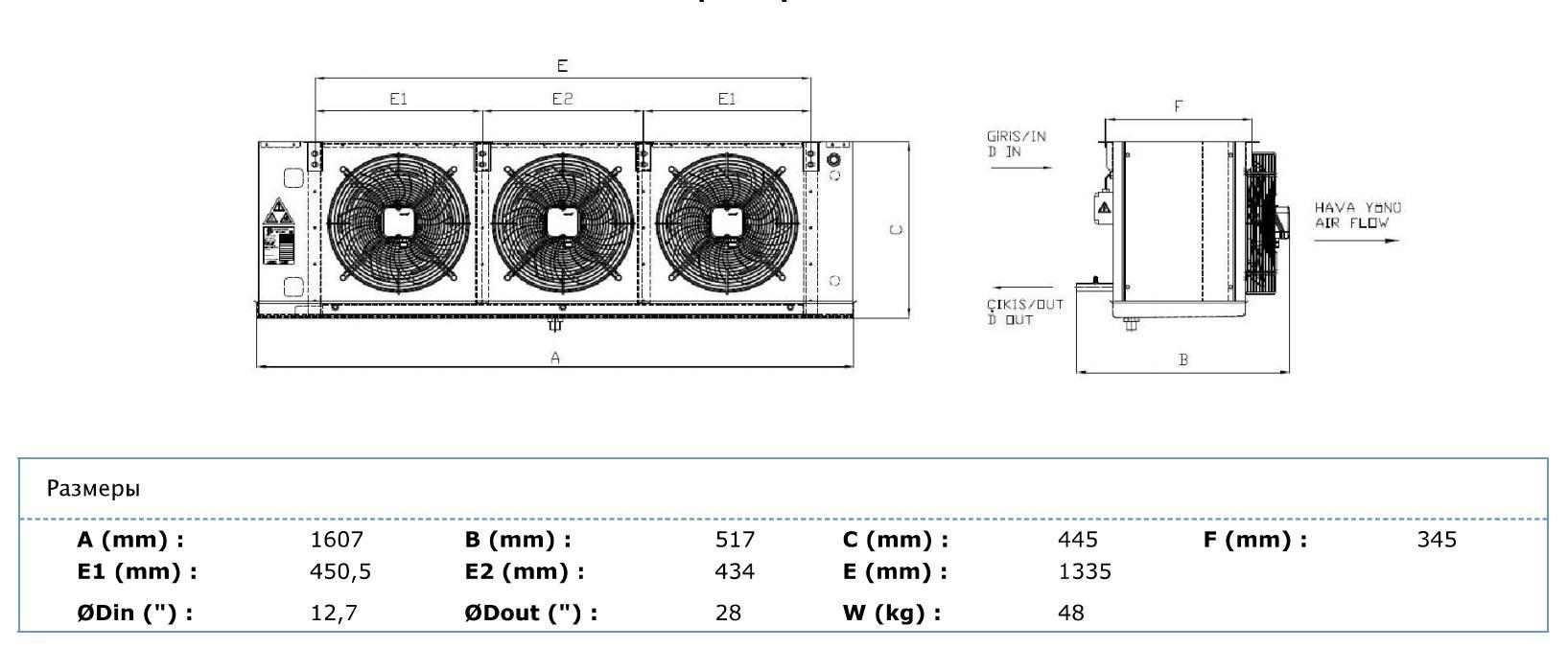 Габаритные и присоединительные размеры Karyer EA-330AC8-C01