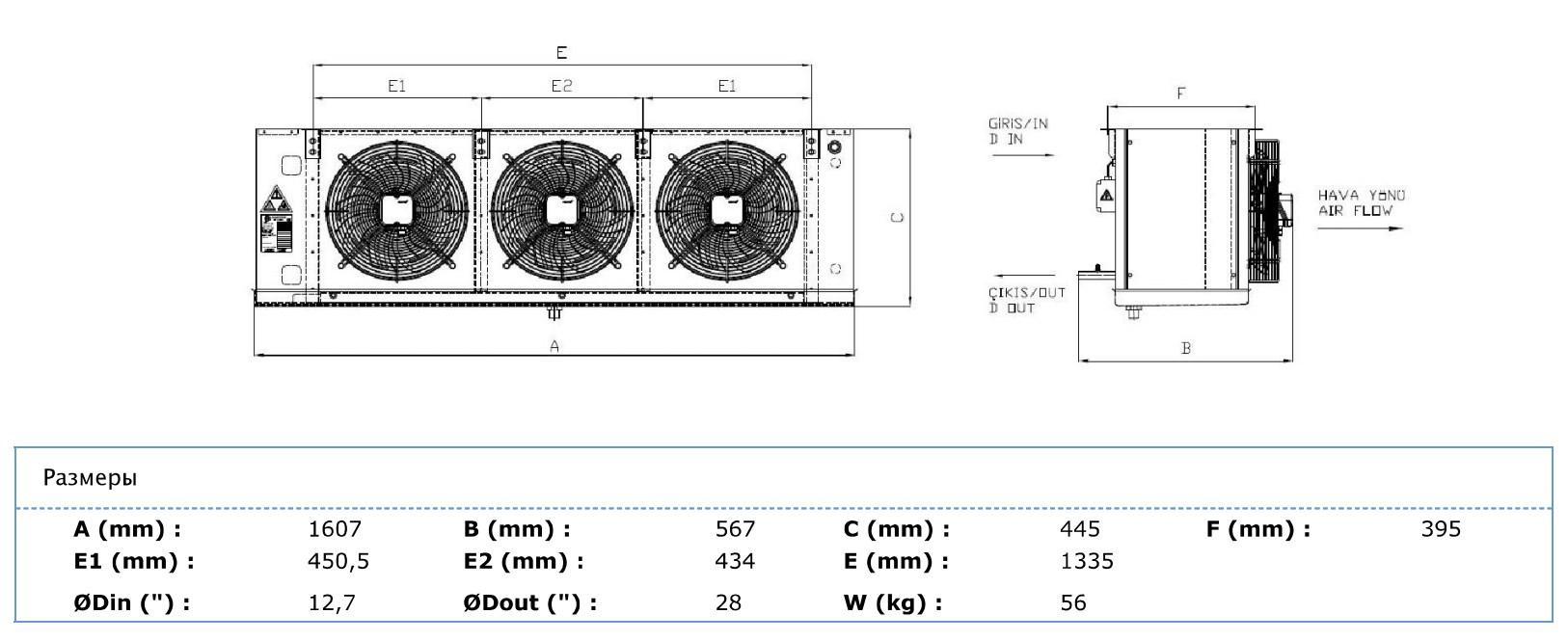 Габаритные и присоединительные размеры Karyer EA-330AE8-C01