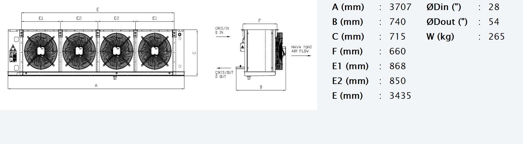 Габаритные и присоединительные размеры Karyer EA-450AG10-C02