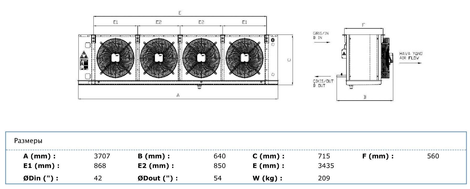 Габаритные и присоединительные размеры Karyer EA-450AE10-C02