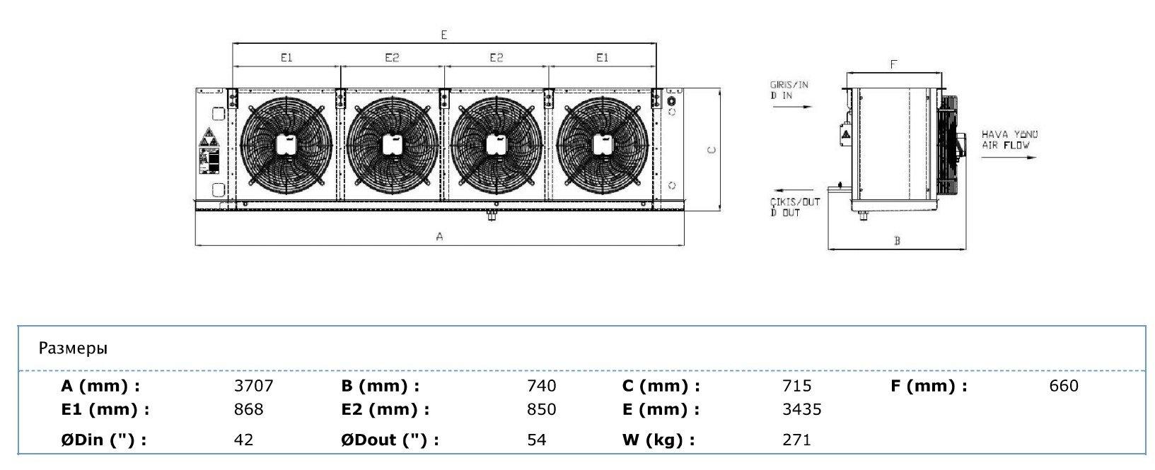 Габаритные и присоединительные размеры Karyer EA-450AG6-C02