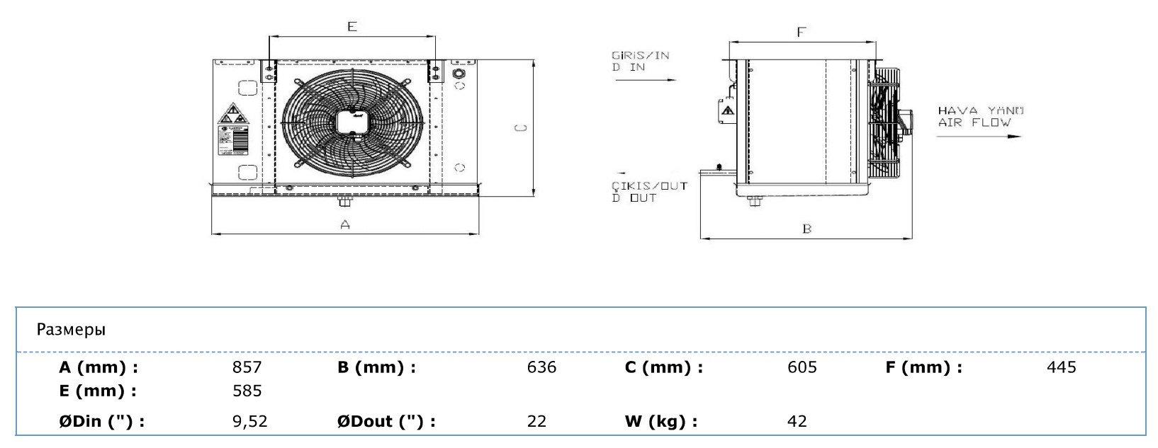 Габаритные и присоединительные размеры Karyer EA-140AE8-C01