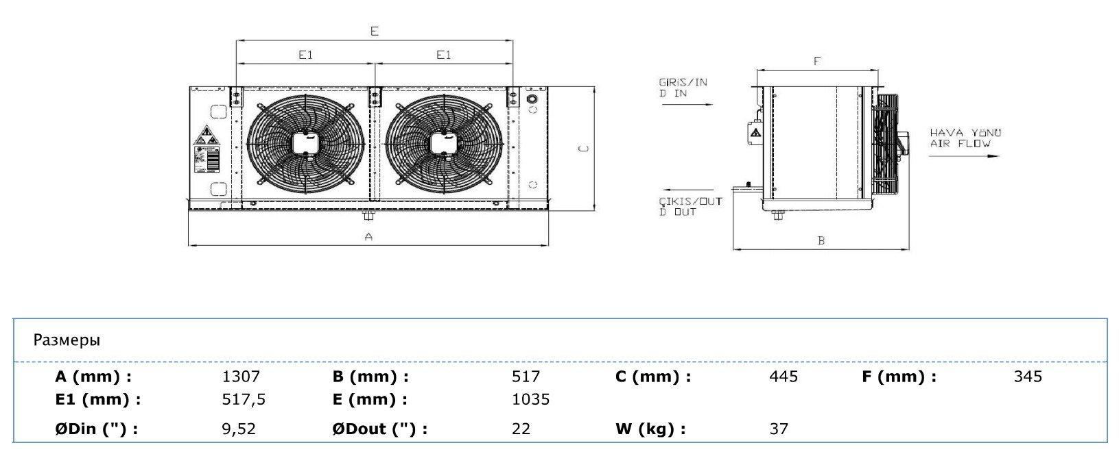 Габаритные и присоединительные размеры Karyer EA-230BС8-C01