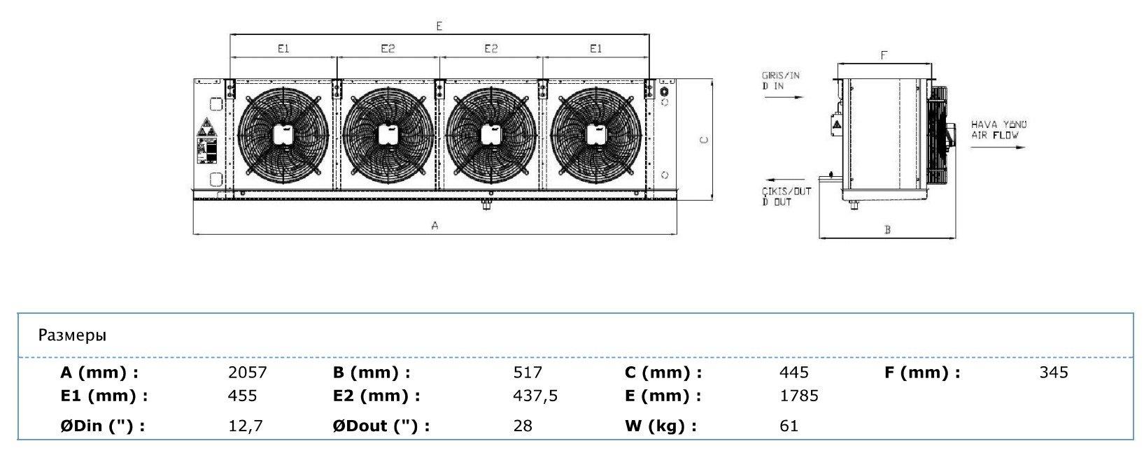 Габаритные и присоединительные размеры Karyer EA-430AC8-C01
