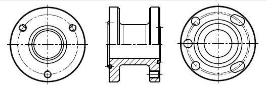 Фланцевый адаптер - 3 отверстия O 6.9 мм, D 47.6 мм , 4 отверстия O 6,9 мм, D 50.0 мм