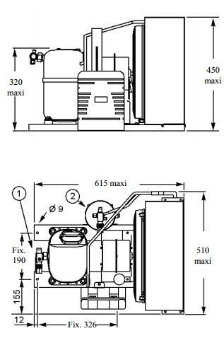 Чертеж и габаритные размеры агрегата CAJ4517EHR