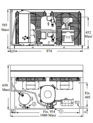Чертеж и габаритные размеры агрегата TAG4561THR