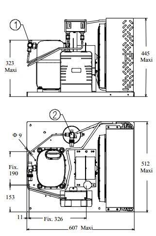 Чертеж и габаритные размеры агрегата CAJ4517ZHR