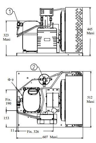 Чертеж и габаритные размеры агрегата CAJ4519ZHR