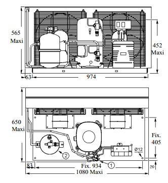 Чертеж и габаритные размеры агрегата TAG4553ZHR