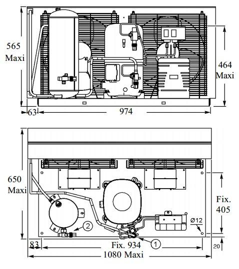 Чертеж и габаритные размеры агрегата TAG4568ZHR
