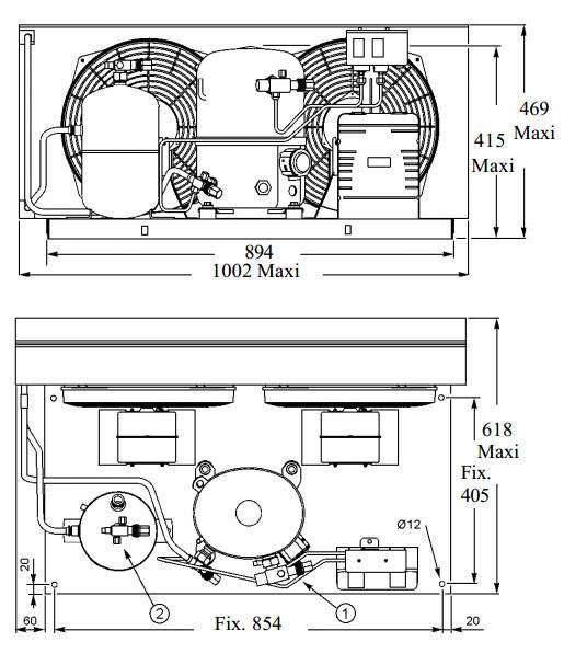Чертеж и габаритные размеры агрегата TFH4531ZHR