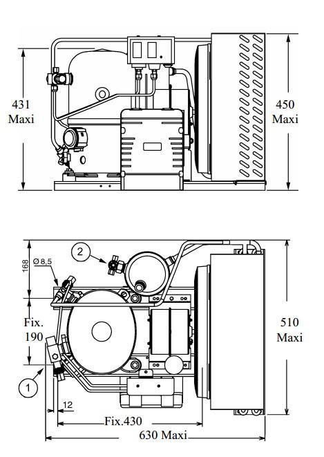 Чертеж и габаритные размеры агрегата TF2480ZBR