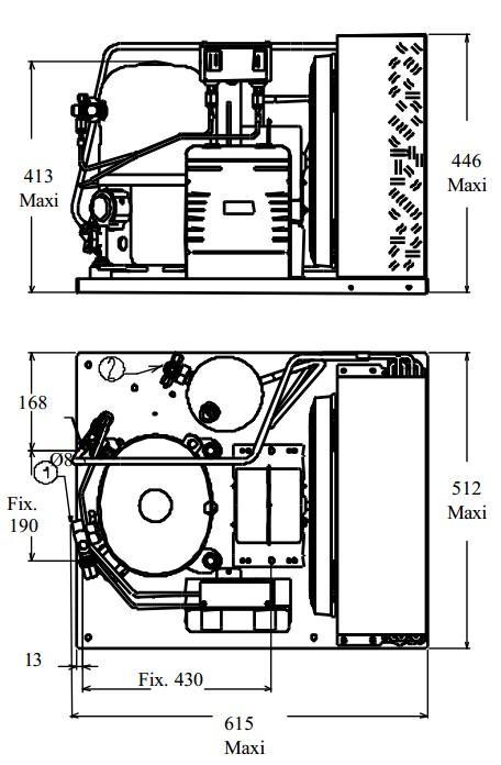 Чертеж и габаритные размеры агрегата TF2511ZBR