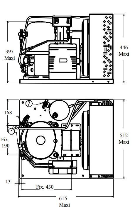 Чертеж и габаритные размеры агрегата TFH2480ZBR
