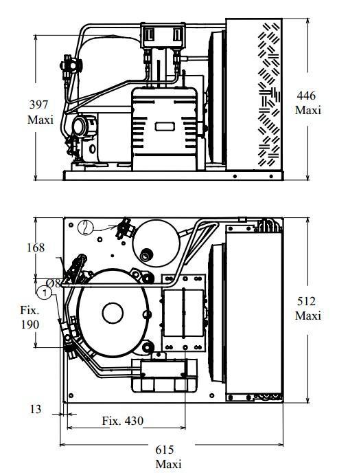 Чертеж и габаритные размеры агрегата TFH2511ZBR