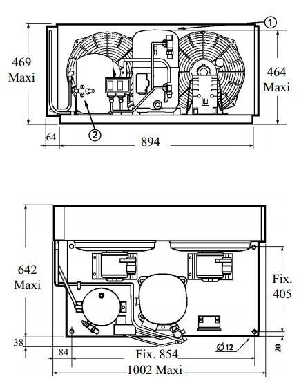 Чертеж и габаритные размеры агрегата TAG2522ZBR