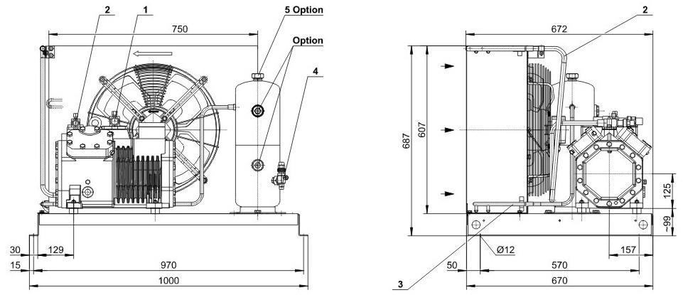 Габаритные размеры и чертеж агрегата Bitzer LH64/4FC-3.2Y-40S