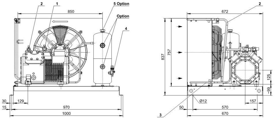Габаритные размеры и чертеж агрегата Bitzer LH84/4EC-6.2Y-40S, LH84/4FC-5.2Y-40S