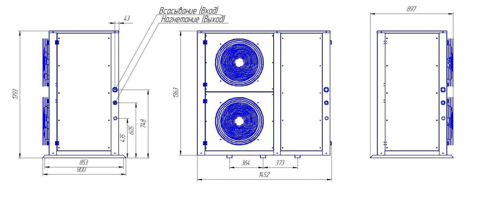 Чертеж и габаритные размеры агрегата Intercold ККБ3