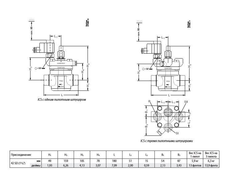 Вентиль сервоприводный ICS 40-3 42 SD