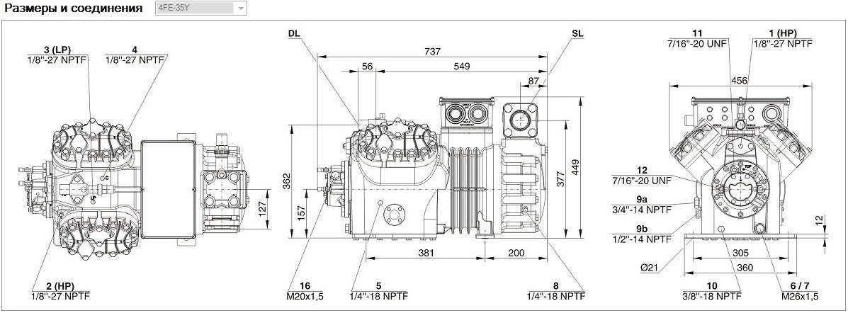 Габаритные и присоединительные размеры Bitzer 4FE - 35Y