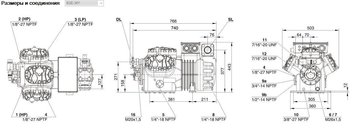 Габаритные и присоединительные размеры Bitzer 6GE - 34Y