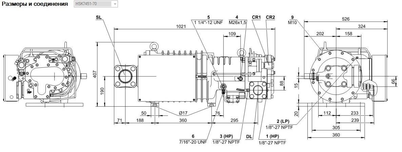 Габаритные и присоединительные размеры Bitzer HSK7451-70